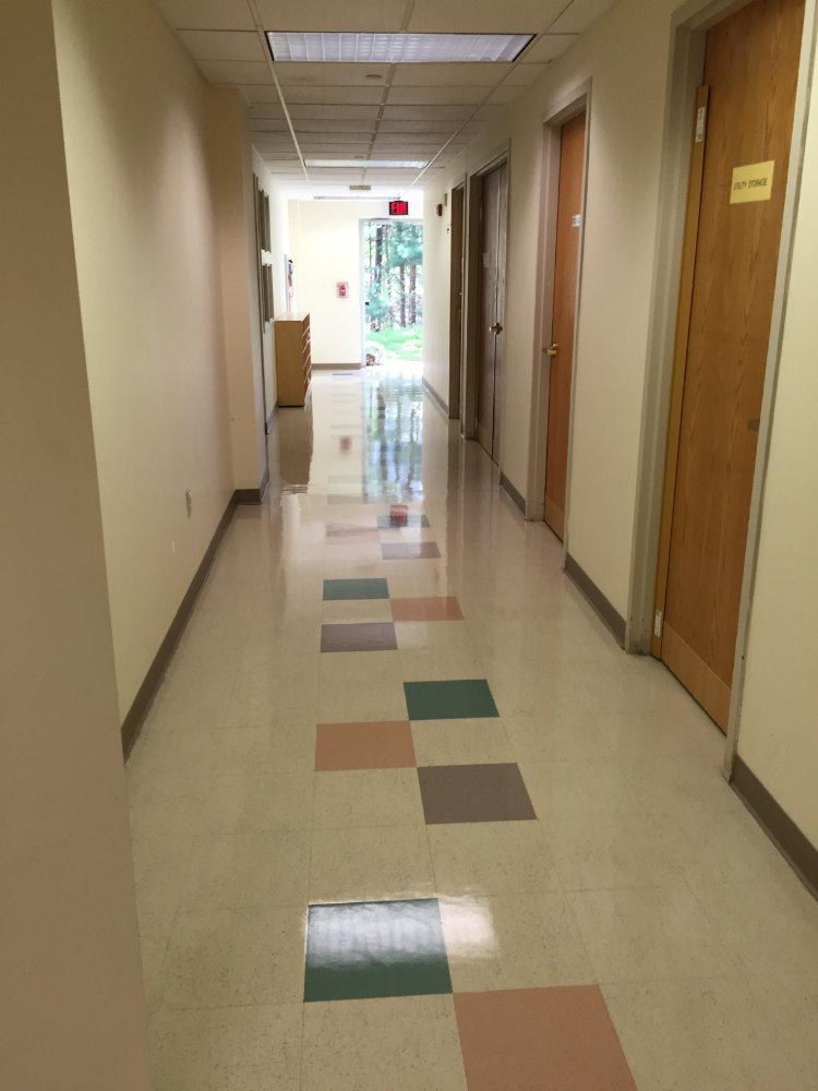 polished tile floor in hallway