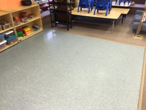 stripped and waxed tile floor in classroom